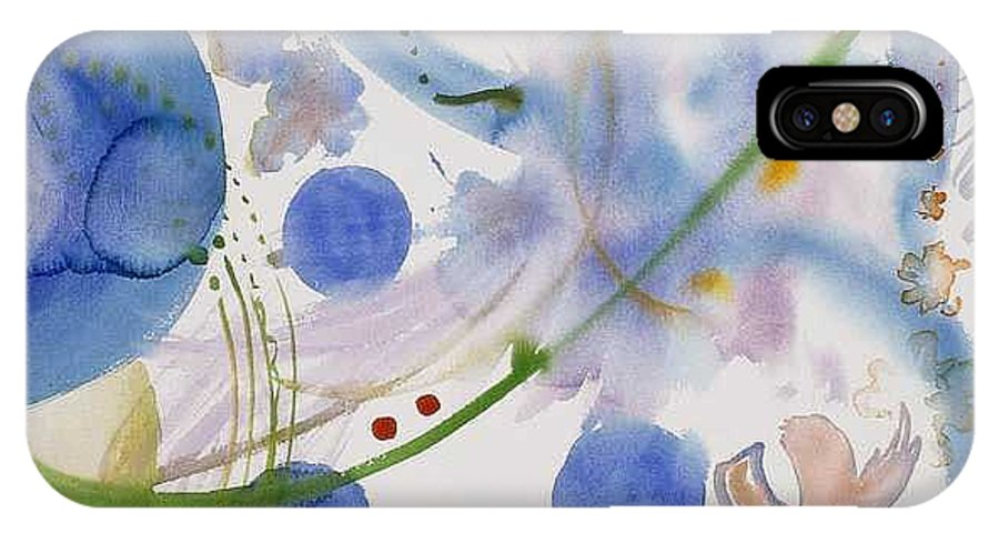 Abstract IPhone X Case featuring the painting Lunar Galactic Convergence by Eileen Hale
