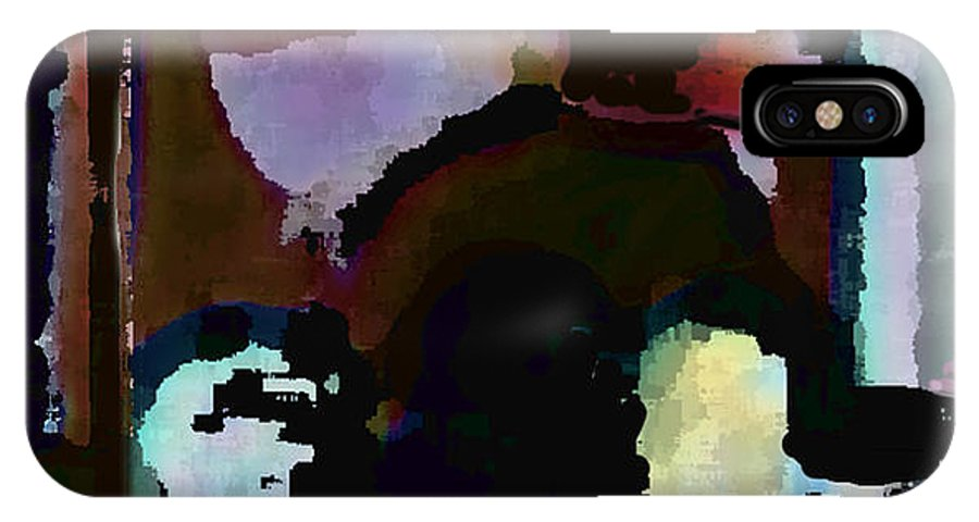 Abstract Expressionism IPhone X Case featuring the painting Lunch counter by Steve Karol