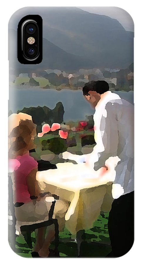 Woman IPhone X Case featuring the digital art Lunch On The Terrace by Carl Purcell