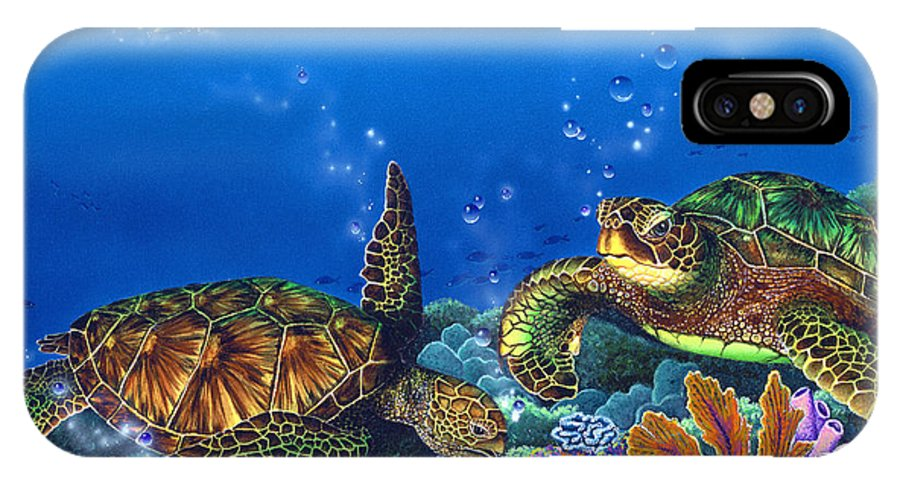 Turtles IPhone X Case featuring the painting Lunchtime by Angie Hamlin