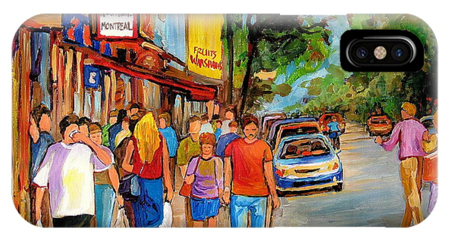 Montreal Streetscenes IPhone X Case featuring the painting Lunchtime On Mainstreet by Carole Spandau