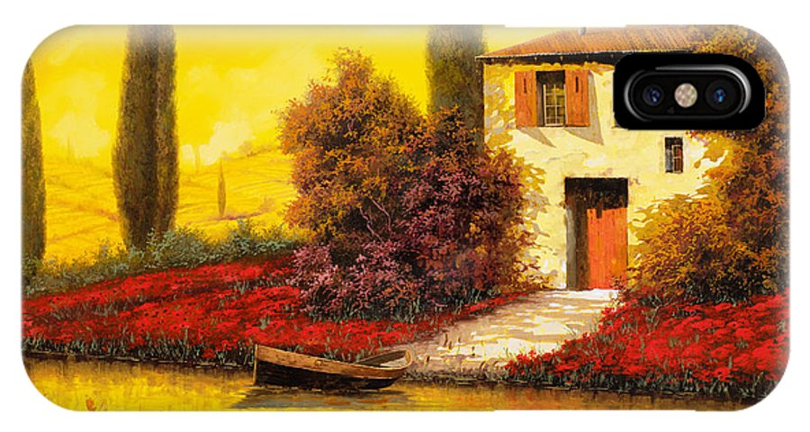 Landscape IPhone X Case featuring the painting Lungo Il Fiume Tra I Papaveri by Guido Borelli