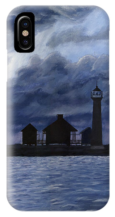 Landscape IPhone X Case featuring the painting Lydia Ann Lighthouse by Adam Johnson