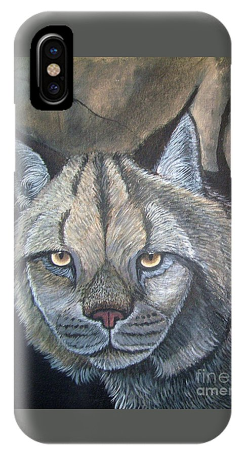 Lynx IPhone X Case featuring the painting Lynx by Nick Gustafson
