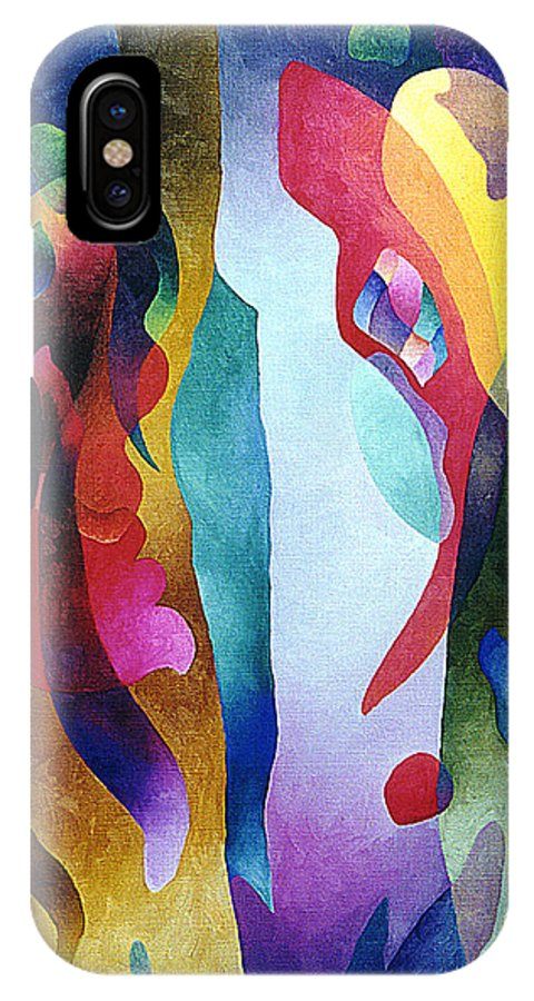 Abstract IPhone X Case featuring the painting Lyrical Grouping by Sally Trace