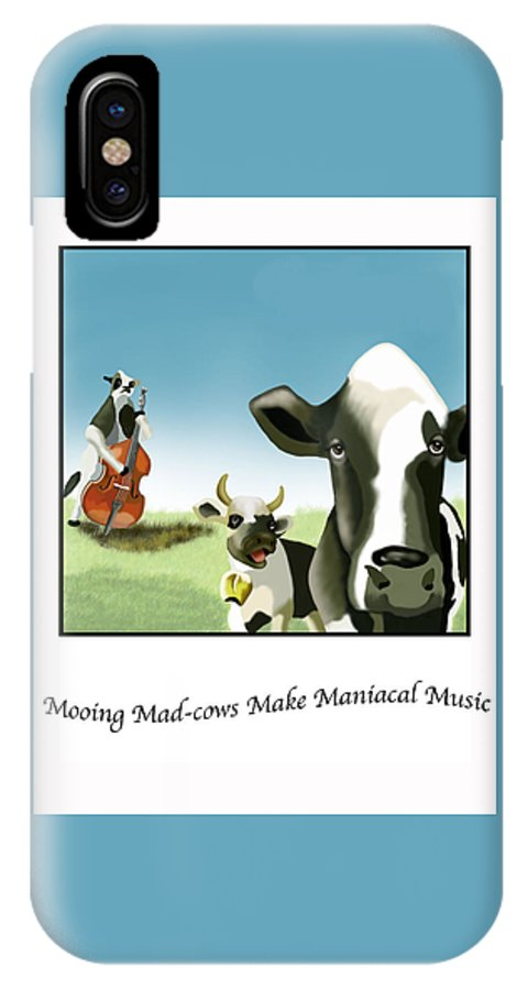 Digital Art IPhone X Case featuring the digital art Mooing Mad Cows by Lois Boyce