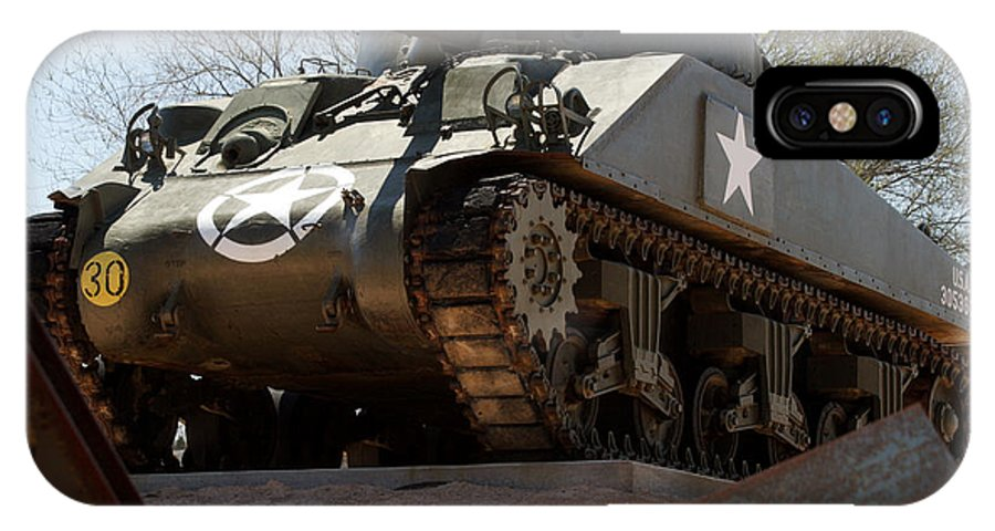 Army IPhone X Case featuring the photograph M4 Sherman Tank by Jean Macaluso