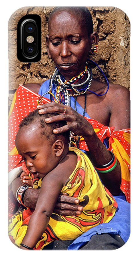 Africa IPhone X Case featuring the photograph Maasai Grandmother And Child by Michele Burgess
