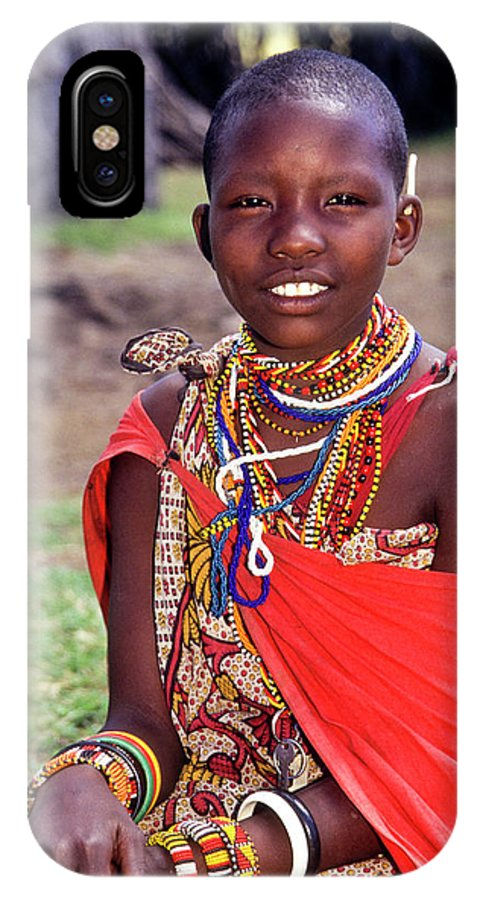 Africa IPhone X Case featuring the photograph Maasai Teenager by Michele Burgess