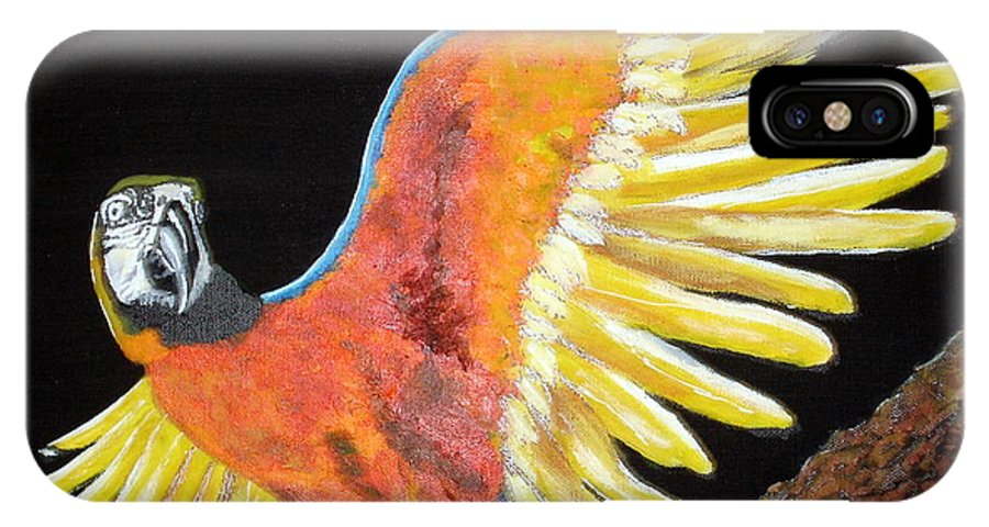 Macaw IPhone X Case featuring the painting Macaw - Wingin' It by Susan Kubes