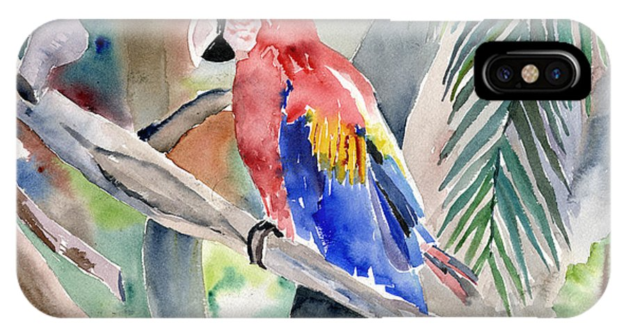 Macaw IPhone Case featuring the painting Macaw by Arline Wagner