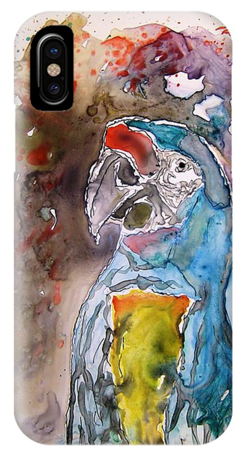 Parrot IPhone X Case featuring the painting Macaw Parrot by Derek Mccrea