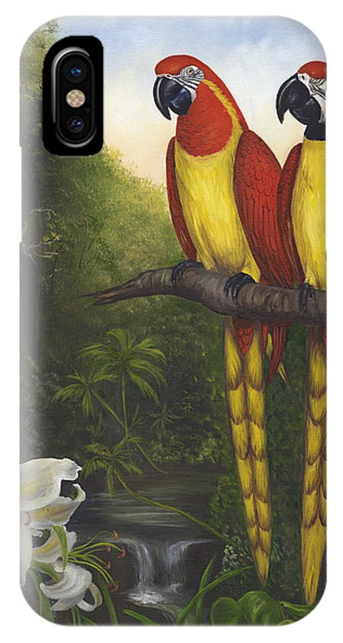 Landscape IPhone X Case featuring the painting Macaws And Lillies by Anne Kushnick
