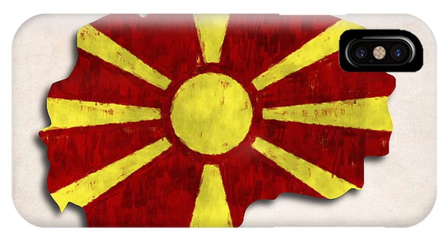 Macedonia IPhone X Case featuring the digital art Macedonia Map Art With Flag Design by World Art Prints And Designs