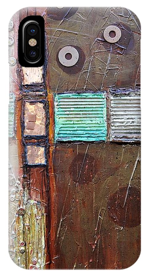 Abstract Collage IPhone X Case featuring the painting Machine Shop 1 by Ginger Concepcion