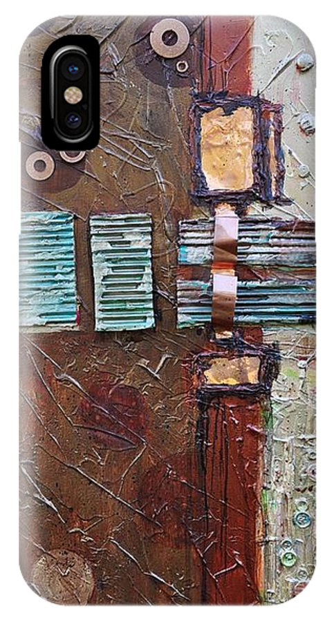 Metal Abstract IPhone X Case featuring the painting Machine Shop 2 by Ginger Concepcion