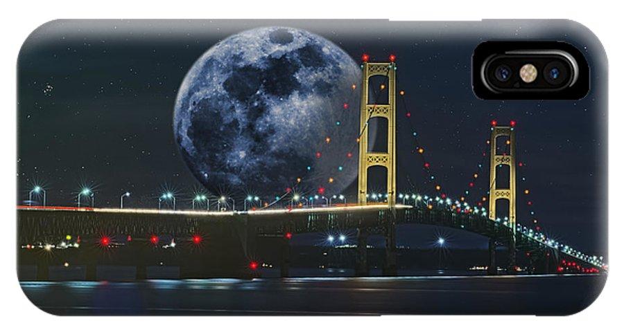 Mackinac Bridge IPhone X Case featuring the photograph Mackinac Bridge Fantasy by Roger Swieringa