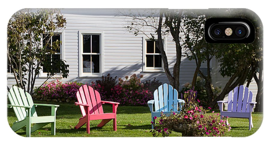 Lawn Chairs IPhone X Case featuring the photograph Mackinac Island Relaxation by John Vial