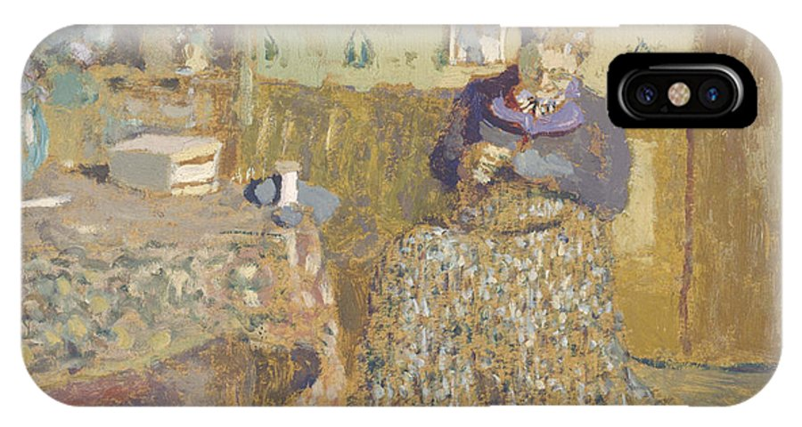 �douard Vuillard IPhone X Case featuring the painting Madame Vuillard Sewing by Celestial Images