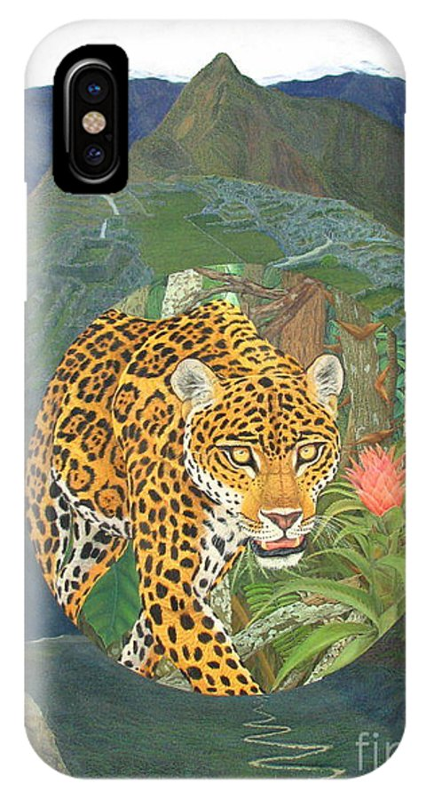 Jaguar IPhone X Case featuring the painting Made In America by Juan Enrique Marquez