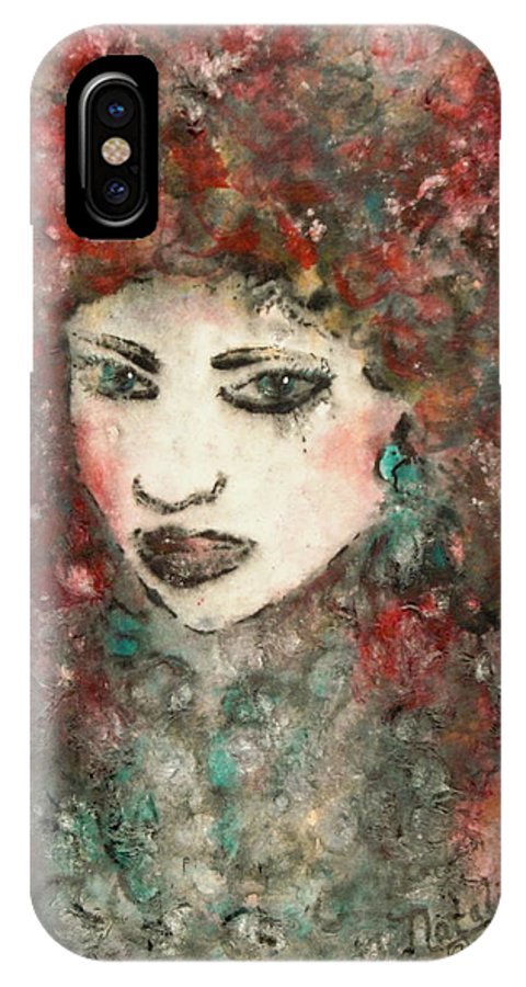 Mademoiselle IPhone X Case featuring the painting Mademoiselle by Natalie Holland