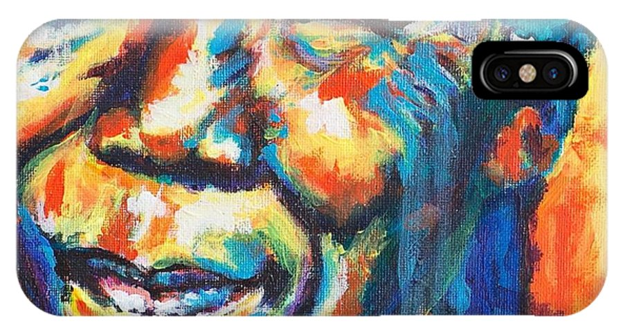 Madiba IPhone X Case featuring the painting Madiba by Larry Ger