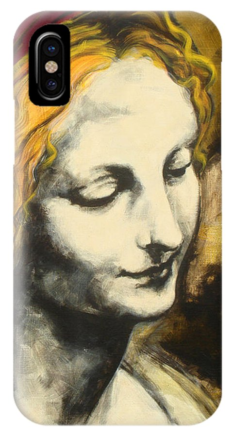 Pop IPhone Case featuring the painting Madona Face by Jean Pierre Rousselet