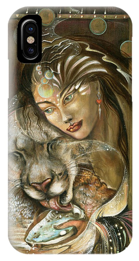 Wildlife IPhone X Case featuring the painting Madonna by Blaze Warrender