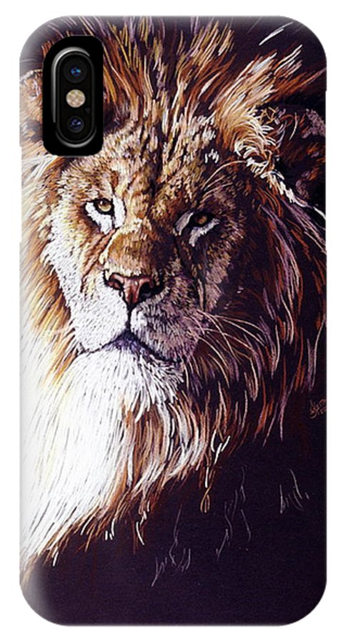 Lion IPhone X Case featuring the drawing Maestro by Barbara Keith