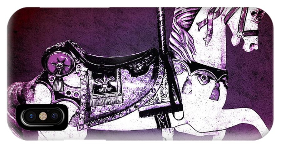 Digital IPhone X Case featuring the digital art Magenta Carousel Horse by Patty Vicknair