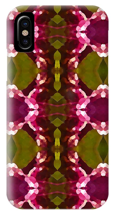 Abstract IPhone Case featuring the painting Magenta Crystal Pattern by Amy Vangsgard