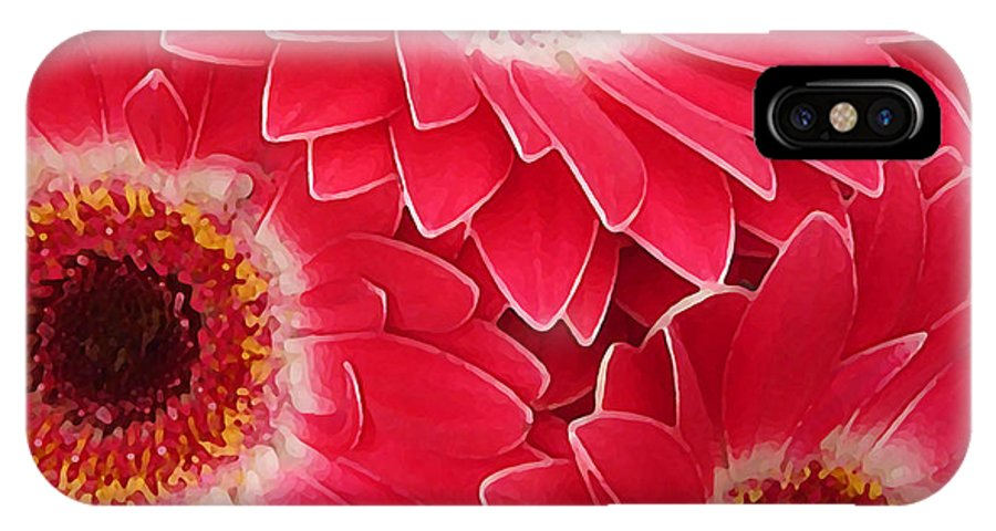 Daisy IPhone Case featuring the painting Magenta Gerber Daisies by Amy Vangsgard