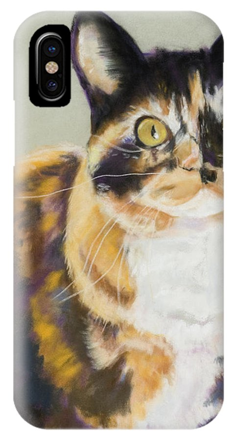 Calico IPhone X Case featuring the painting Maggie Mae by Pat Saunders-White