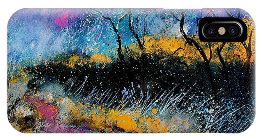 Landscape IPhone X Case featuring the painting Magic Morning Light by Pol Ledent