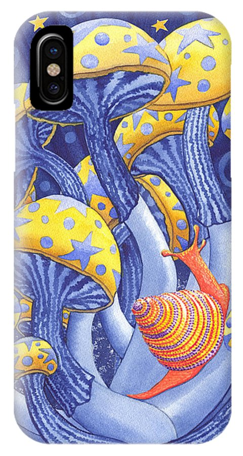 Mushroom IPhone X Case featuring the painting Magic Mushrooms by Catherine G McElroy