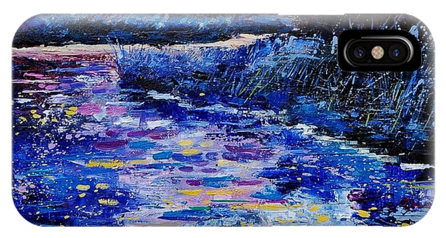River IPhone X Case featuring the painting Magic Pond by Pol Ledent
