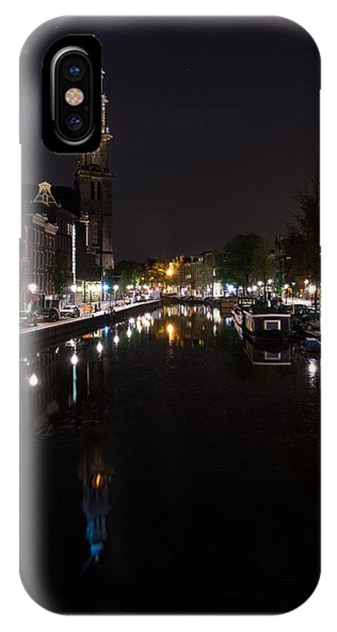 Georgia Mizuleva IPhone X / XS Case featuring the photograph Magical Amsterdam Night - Blue Crown Skyline by Georgia Mizuleva