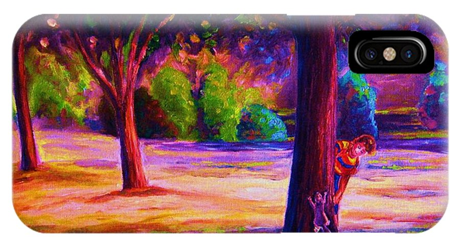 Landscape IPhone X Case featuring the painting Magical Day In The Park by Carole Spandau