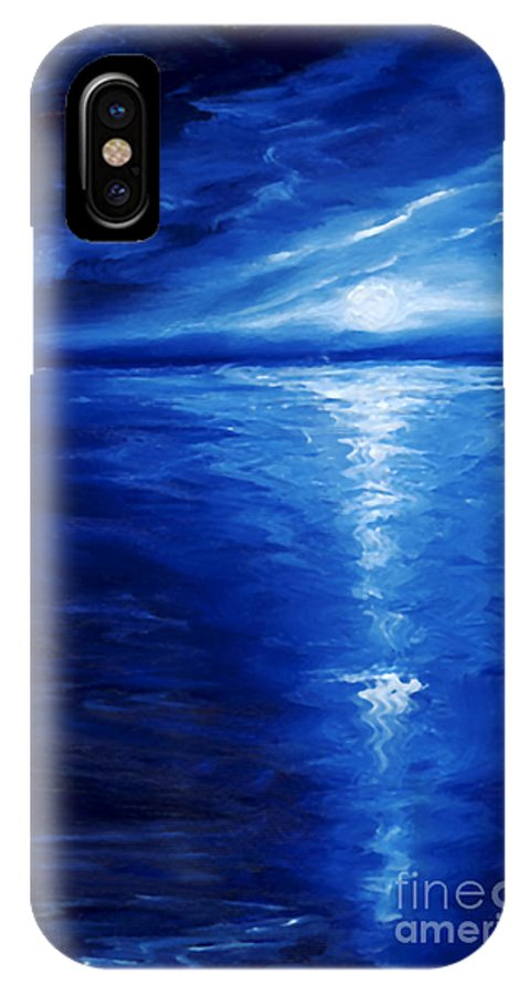 Blue Moon IPhone X Case featuring the painting Magical Moonlight by James Christopher Hill