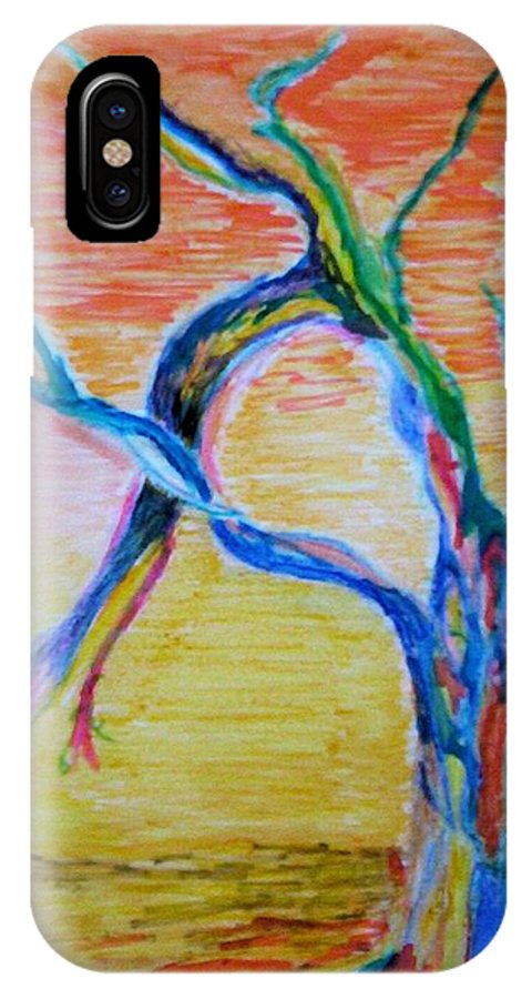 Abstract Painting IPhone X Case featuring the painting Magical Tree by Suzanne Udell Levinger