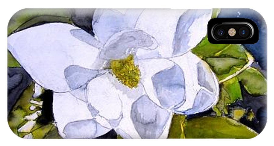 Magnolia IPhone X Case featuring the painting Magnolia 2 Flower Art by Derek Mccrea