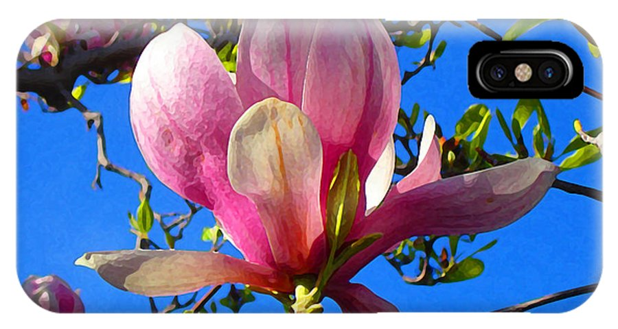 Magnolia IPhone X Case featuring the painting Magnolia Flower by Amy Vangsgard