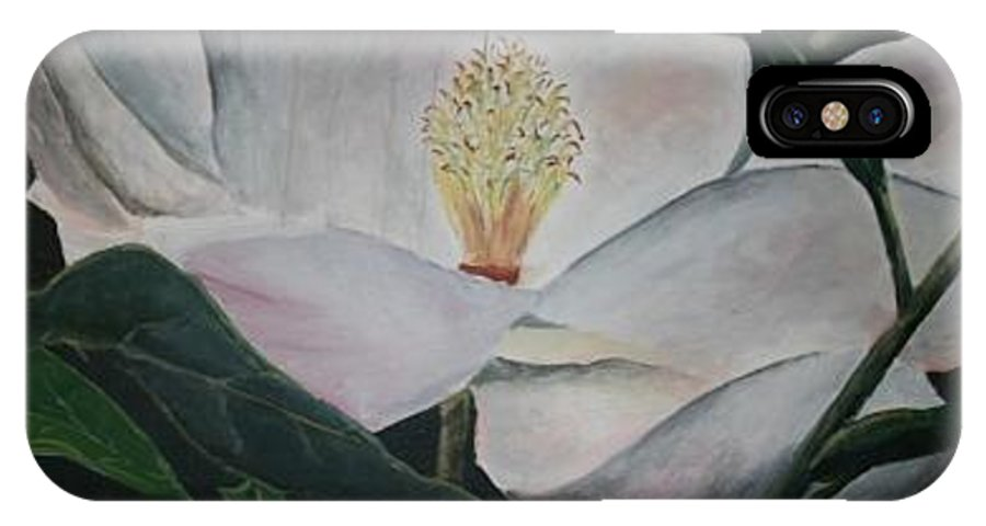 Oils IPhone X Case featuring the painting Magnolia Flower Oil Painting by Derek Mccrea