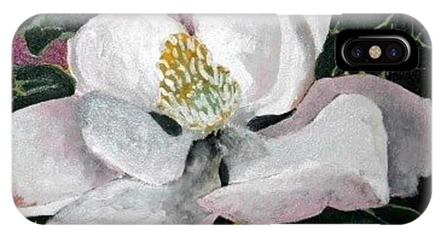Acrylic IPhone X Case featuring the painting Magnolia Flower Painting by Derek Mccrea