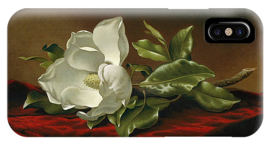 Orchid IPhone X Case featuring the painting Magnolia Grandiflora by Martin Johnson Heade