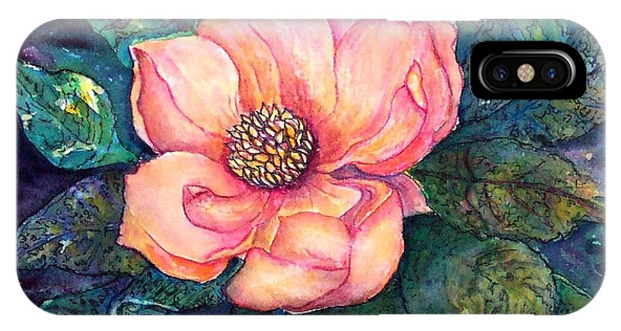 Flowers IPhone X Case featuring the painting Magnolia In The Evening by Norma Boeckler