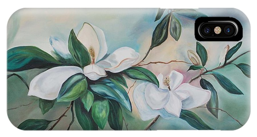 Flowers IPhone X Case featuring the painting Magnolia Summer by Margaret Fortunato