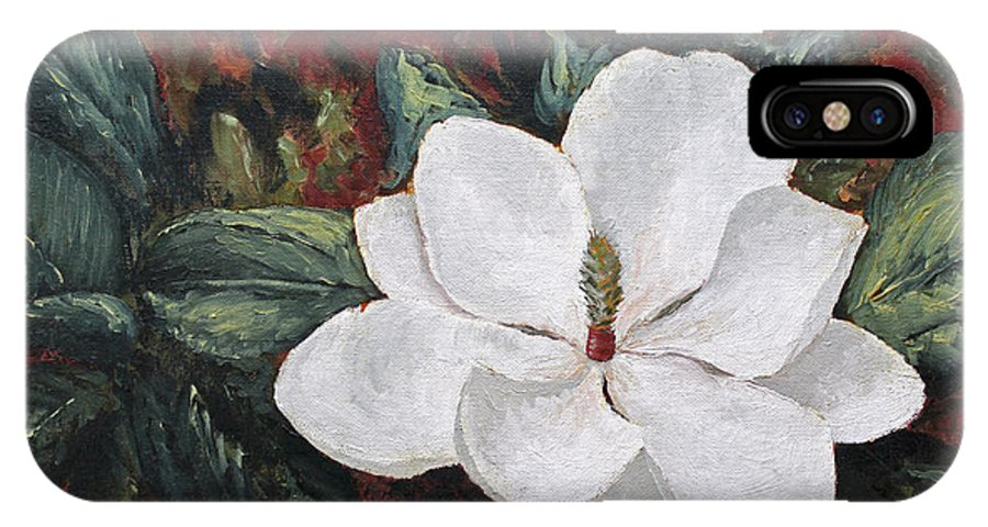 Flower IPhone X Case featuring the painting Magnolia by Todd Blanchard