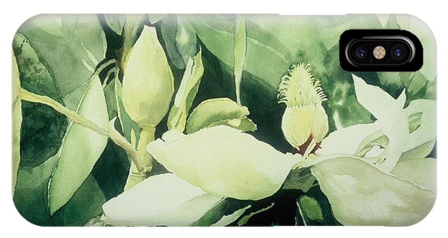 Magnolias IPhone X Case featuring the painting Magnolium Opus by Elizabeth Carr