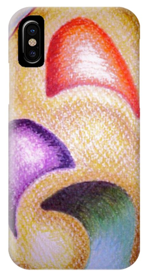 Abstract IPhone X Case featuring the drawing Mailed To You by Suzanne Udell Levinger